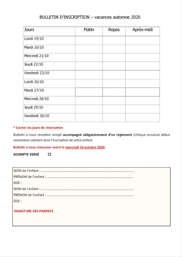 bulletin inscription automne 2020